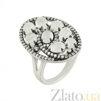 Серебряное кольцо с лунным камнем и фианитами Кароль 3К704-0044