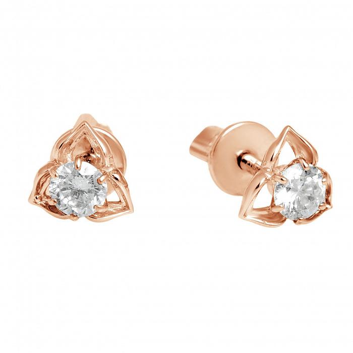 Золотые пуссеты с бриллиантами Шарлотта 000030535