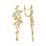 Серьги-подвески Орнелла в желтом золоте с лимонными цирконами