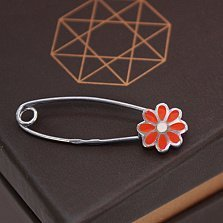 Серебряная булавка Цветик с оранжевой эмалью