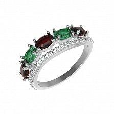 Серебряное кольцо Таиса с зеленым кварцем, гранатами и фианитами