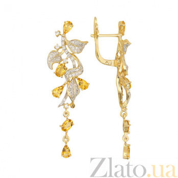 Серьги-подвески Орнелла в желтом золоте с лимонными цирконами VLT--ТТТ2454