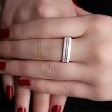Белое керамическое кольцо с фианитами Берлин