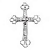 Крестик в белом золоте Поклонение с бриллиантами
