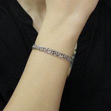 Серебряный браслет Ирис в плетении ромб, 6мм