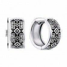 Серебряные серьги-конго с черной эмалью 000133734