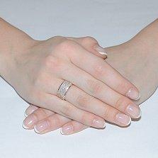 Золотое кольцо Гламур в красном цвете с усыпкой из фианитов
