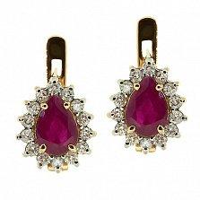 Золотые серьги с бриллиантами и рубинами Фрида
