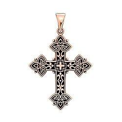 Крестик из красного золота с чернением 000135602