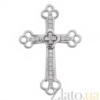 Крестик в белом золоте Поклонение с бриллиантами SVA--3101291202/Бриллиант