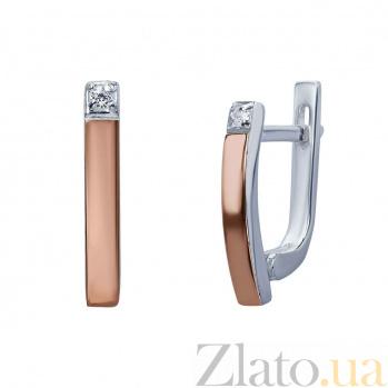 Серебряные серьги с золотом и фианитом Лилу AQA--Г0243С