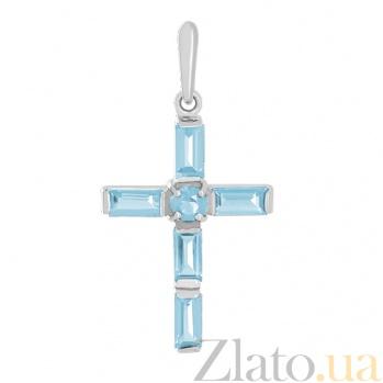 Золотой крестик в белом цвете с топазами Эстетика ар-деко 000029446