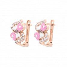 Золотые серьги Милашка с фианитами, розовой и белой эмалью