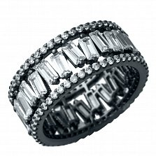 Серебряное кольцо Фонтана с фианитами и черным родием