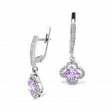 Серебряные серьги-подвески Иванна с фиолетовыми и белыми фианитами