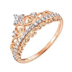Кольцо-корона из красного золота с фианитами 000130327