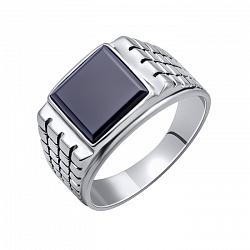 Серебряное кольцо Фредо с черным ониксом и фактурной шинкой