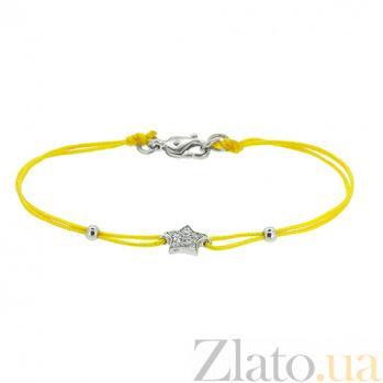 Шелковый браслет Звезда с серебряными вставками с цирконием ZMX--BCCz-00201-Ag_K