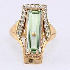 Золотое кольцо Ирвин с аметистом и фианитами