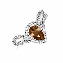 Серебряное кольцо Катарина с раухтопазом и фианитами