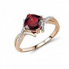 Кольцо из красного золота Адрианна с бриллиантами и гранатом
