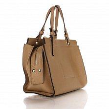 Кожаная деловая сумка Genuine Leather 8951 миндального цвета на молнии, с металлическими ножками