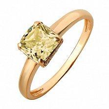 Золотое кольцо Алевтина с синтетическим султанитом и фианитами