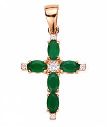 Декоративный крестик из красного золота с агатом и цирконием 000131122