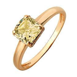 Золотое кольцо Алевтина с синтезированным султанитом и фианитами
