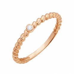 Золотое кольцо Ферран в красном цвете с крученой шинкой и завальцованным бриллиантом