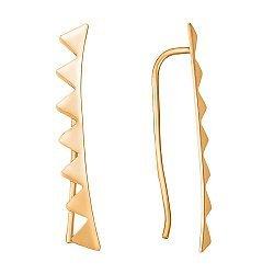 Золотые серьги-каффы Зубчики в евро цвете 000056469
