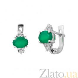 Серебряные серьги Мирра с зеленым агатом и фианитами 000081855