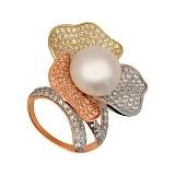 Золотое кольцо Абутилон с жемчужиной и фианитами