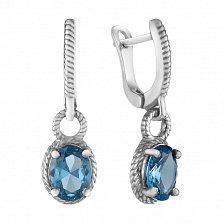 Серебряные серьги-подвески Висконсин с голубым кварцем