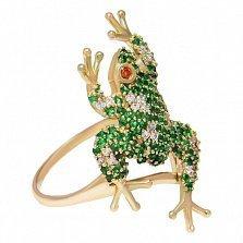 Кольцо из красного золота Лягушонок с зелеными, красными и белыми фианитами