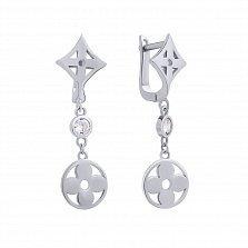 Серебряные серьги-подвески Модные цветочки с белым цирконием в стиле Луи Виттон