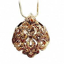 Золотой подвес с бриллиантами, сапфирами и рубинами Дивная Диана