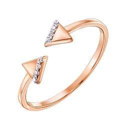 Золотое кольцо Двусторонняя стрела в комбинированном цвете с треугольниками и фианитами