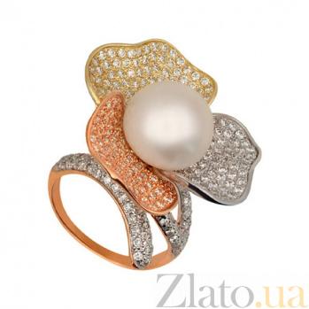 Золотое кольцо Абутилон с жемчужиной и фианитами VLT--ТТ1239