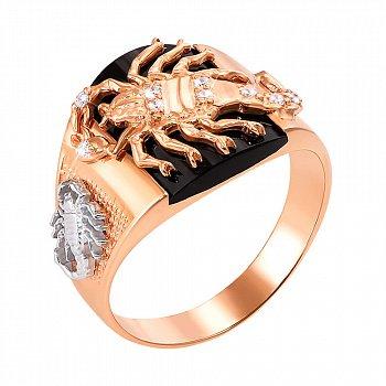 Перстень-печаткаиз красного золота с черным ониксом и фианитами 000004096