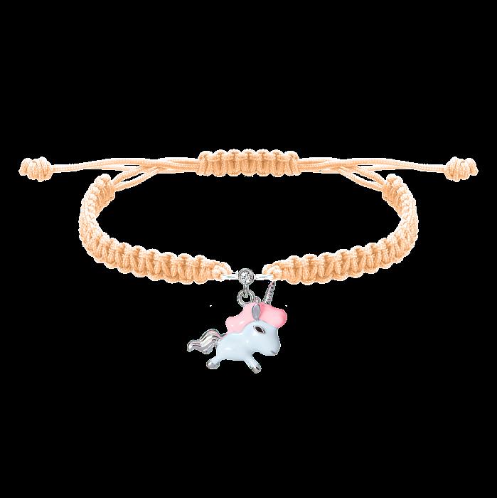 Детский плетеный браслет Единорог с эмалью и фианитом, 10х20см 000080615