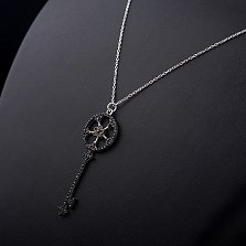 Серебряное колье Ключик-цветочек с черными фианитами