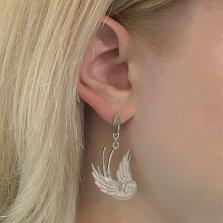 Серебряные родированные серьги-подвески Влюбленные ласточки