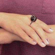 Кольцо в красном золоте Купол с черным агатом и черными фианитами