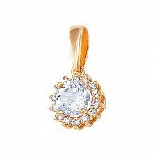 Золотой подвес Снежное утро с кристаллами Сваровски