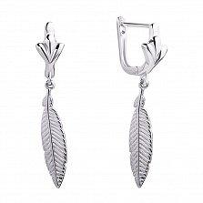 Серебряные серьги-подвески Перышки с родированной поверхностью