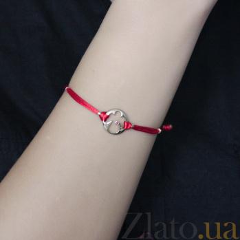 Шелковый браслет Мой ангел с золотыми вставками и рубином 000095579