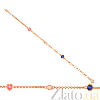 Золотой браслет Девичьи грезы с фианитами VLT--Н503