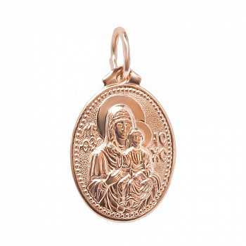 Золотая овальная ладанка Божья матерь Казанская 000046141