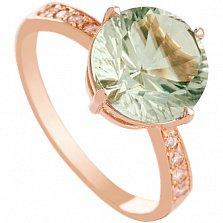 Золотое кольцо с зеленым аметистом и фианитами Эстель